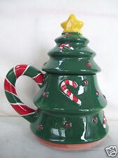 Vintage ND Hand Painted Candy Cane Green Christmas Tree Shape Teapot Figurine