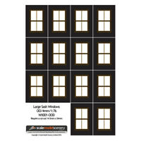 LARGE BROWN & CREAM SASH WINDOWS FOR OO GAUGE 1:76 SCALE MODEL RAILWAY WX001-OOD