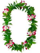 Green Leaf Leis Hawaiian Garland Pink Flowers Hula Hawaii Fancy Dress Necklace