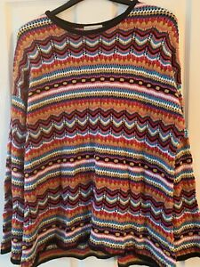 LADIES MULTI PATTERNED CHUNKY JUMPER TOP UK SIZE 18 GREAT CONDITION