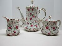 Vintage Lefton Coffee Pot Creamer Sugar Bowl Set -  Rose Chintz with Gold Trim