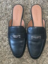 New Retail $195 COACH Shea Leather Mules Womens Size 8 Flats Slides Black