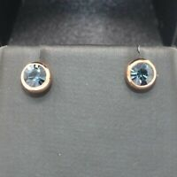 .5 Ct Sapphire Round Stud Earring Women Wedding Jewelry 14K Rose Gold Plated