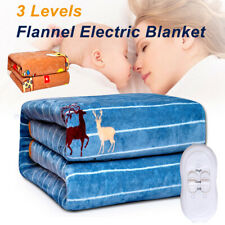 Flannel Blanket Electric Heated Fully Fitted Warm Bed Throw Rug Mat Cover ~