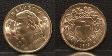 SWISS 1913 NICE LUSTROUS BU-A RARE GEM EARLY DATE SCARCE NEAR MELT GOLD 20 FRANC
