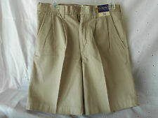 Weekender Casual Life Style Pleated Mens Solid Beige Shorts Size 30 100% Cotton