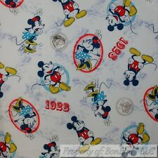 BonEful FABRIC Cotton Quilt White Mickey Minnie Mouse Old Disney Character SCRAP