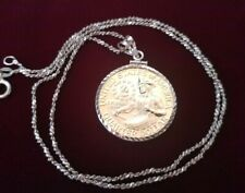 "1976 Golden Bicentennial .925 Bezel quarter pendant on a 20"" Italian Rope Chain"