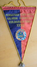 1965 INDONESIA Table Tennis FEDERATION Pennant LARGE Ping Pong WCH TT Ljubljana
