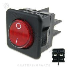 Sw39 Negro Y Rojo Cuadrado 25mm 230v iluminado en Off interruptor 4 Terminales