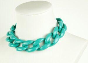 Women's Turquoise Acrylic Chain Lincs Necklace Fashion Chunky Large Stylish NEW