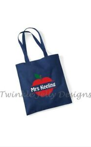 Personalised apple thank you teacher 100% cotton tote shopping bag 38cmx43cm