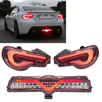 GT86 FRS BRZ LED Tail Light Sequential + Bumper Lamp Clear Red USDM 13-19