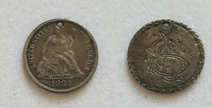 1883 Liberty Seated Dime Love Token holed US coin full Liberty
