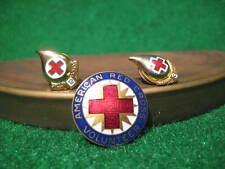 Vintage Red Cross button and pinbacks. 12 gallon, 3 gallon, & Volunteer.