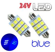 2 Ampoules 24V navettes LED Bleu 41mm C10W Camion RENAULT VOLVO DAF TRUCK SCANIA