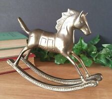 VTG Antique Heavy Solid Brass Rocking Horse Great Patina Book Shelf Paperweight
