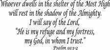 "Psalm 91:12 11""x22"" Bible Verse Wall Decal by Scripture Wall Art - Decor"