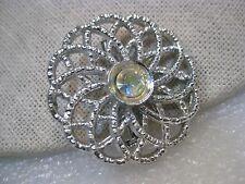 """Vintage Silvertone Spiral Brooch with A.B. Rhinestone Center, 1.5"""", Round"""
