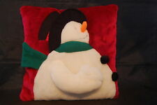 "Winter Snowman Christmas Holiday Throw Pillow Red White Carrot Nose 12"" X 12"""