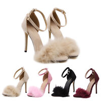 Womens Ladies High Heels Stiletto Ankle Strap Fluffy Fur Open Toe Shoes Sandals
