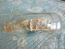 Vintage Nautical Coastal Seaside Ship In A Glass Bottle