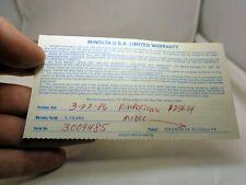 MINOLTA used  warranty card  for Maxxum  AF 70-210mm f4 lens