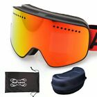 Magnetic Ski Goggles With Case Anti-fog Double Lens Uv400 Professional Glasses