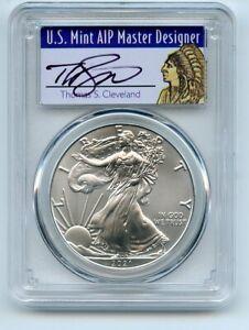 2021 $1 American Silver Eagle 1oz PCGS MS70 FS 1 of 1000 Thomas Cleveland Native