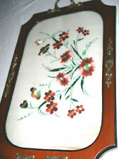 Pretty Vintage Tray - Wood with Floral Embroidery under Glass