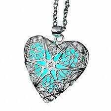 Locket Heart 925 Sterling Silver Glow in the Dark Pendants for Teen Girl Gift