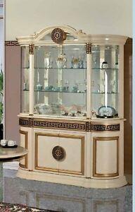 Atena Beige & Gold/ Walnut & Gold Luxury Italian 4 Door Display Cabinet