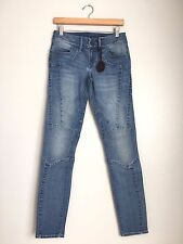 BLACK ORCHID Denim Mid Rise Moto Super Skinny Jeans Distress Blue 27 $170 #194