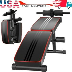 Adjustable Foldable Bench Fitness Equipment for Home Gym Ab Exercises Slant Board Decline Support Waist Back Training Weight AYNEFY Sit Up Bench