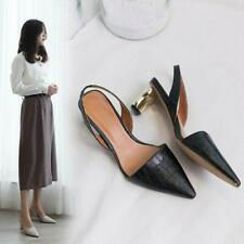 Womens Fashion Embossed Leather Pointed Toe Slingback Mid Heel Court Shoes MOON