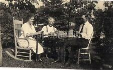 Rocking Chair Woman Men Family Playing Cards At Outdoor Table Vtg/Antique Photo