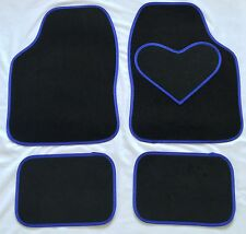 BLACK CAR MATS WITH BLUE HEART HEEL PAD FOR MITSUBISHI COLT EVO FTO L200 ASX