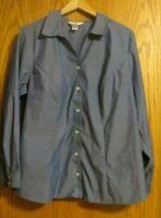 CJ Banks Women's 1X blue button up long sleeve shirt top casual business work