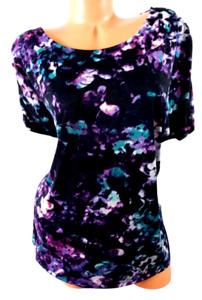 Jaclyn smith black purple abstract print spandex stretch short sleeve top XXL