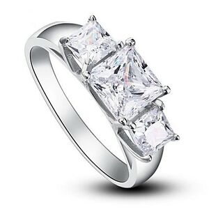 Three-Stones Created Diamond Solid 925 Sterling Silver Wedding  Engagement Ring