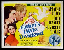 FATHER'S LITTLE DIVIDEND SPENCER TRACY ELIZABETH TAYLOR 1951 HALF-SHEET