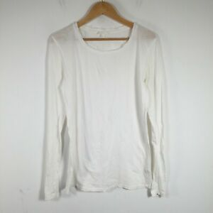 COS womens t shirt size L white long sleeve round neck cotton 32.0004