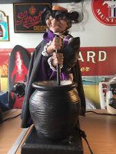"Gemmy Animated Stirring Witch Lights Sounds Halloween Figure Prop Cauldron 16"""