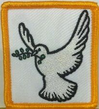DOVE OF PEACE  Embroidery Iron-On Patch Emblem  Gold Border