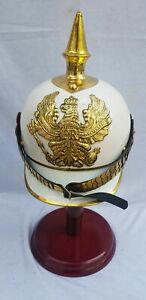 German White Pickelhaube Spiked Iron Helmet Cuirassier Metal With Liner WW1