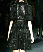$11,000 VALENTINO Embellished Embroidered Cape Cocktail Runway Dress IT 44  US 8