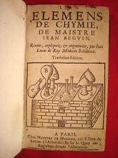 Elemens de CHYMIE de Maistre Jean BEGUIN 1624 CHIMIE SCIENCES