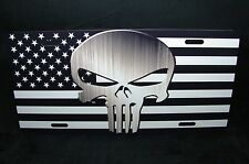 AMERICAN FLAG AND THE PUNISHER SKULL METAL NOVELTY LICENSE PLATE FOR CARS