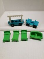 Vintage Lot of 1984 Fisher Price Toys Zoo Tram and Furniture
