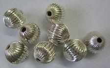 8 x 14mm Metal Ridge Ball Beads Silver Tone For Beading & Jewellery Making JF487